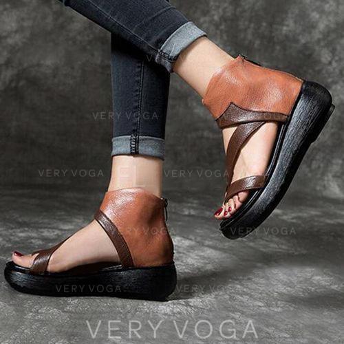 Vrouwen PU Wedge Heel Sandalen Wedges Peep Toe met Rits schoenen