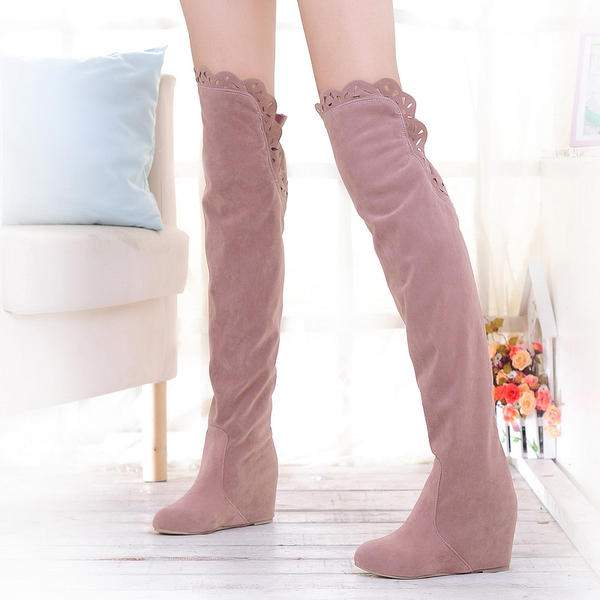 7dc3917072 Women's Suede Flat Heel Boots Over The Knee Boots With Hollow-out shoes