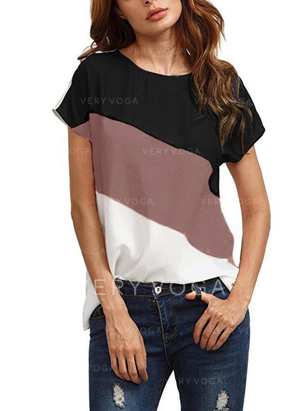 Colorblock Kerek nyak Rövidujjú Hétköznapokra Μπλουζάκια
