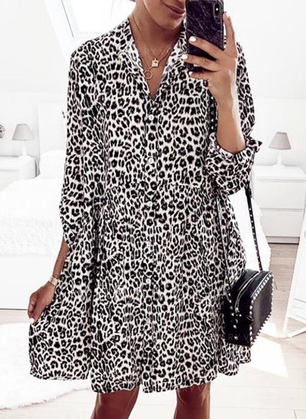 Leopard 3/4 Sleeves Shift Above Knee Casual Tunic Dresses