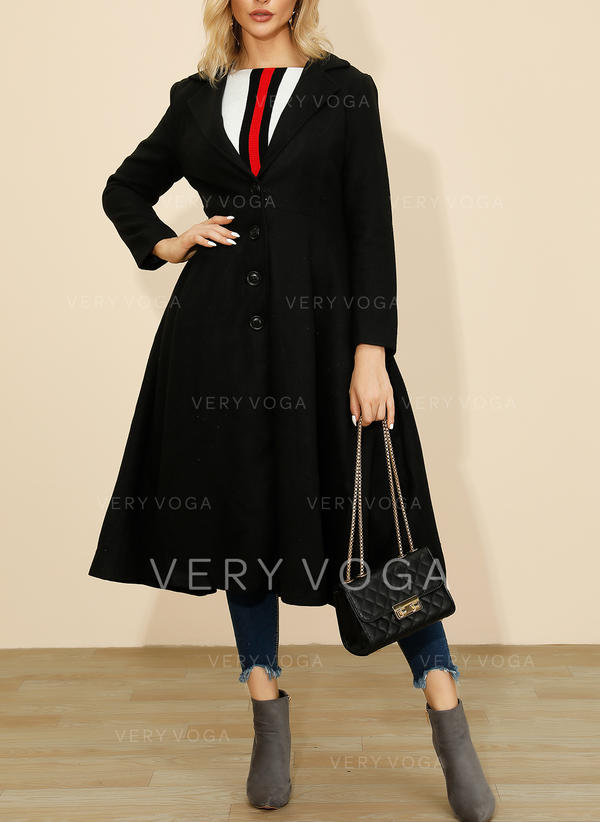 Polyester Long Sleeves Plain Trench Coats Slim Fit Coats