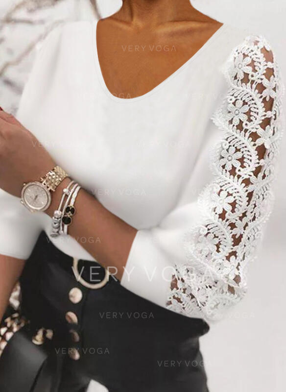 Solid Lace Round Neck 3/4 Sleeves Elegant Blouses