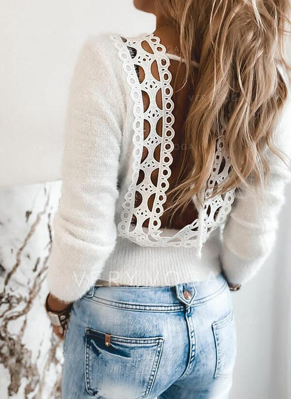 Solid Round Neck Casual Sexy Sweaters