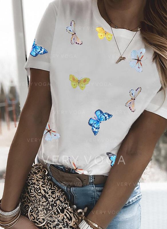 Imprimé Animal Col Rond Manches Courtes T-shirts