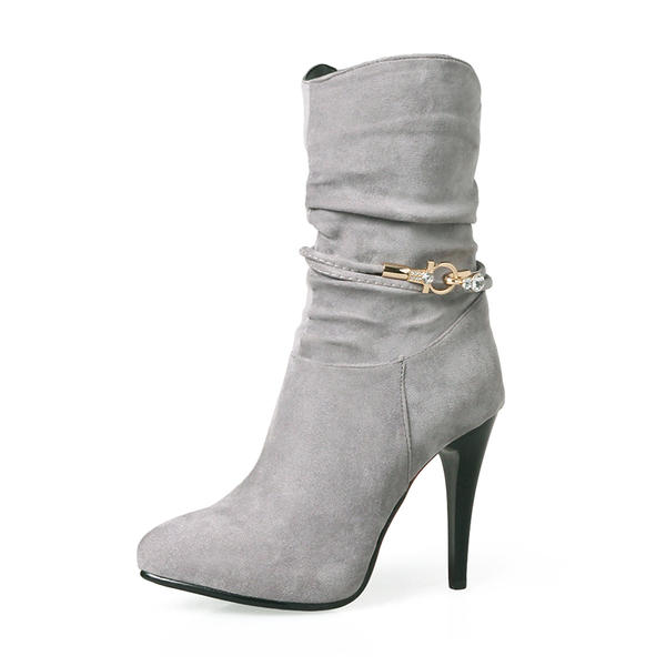 bab0745183 Női Szarvasbőr Tűsarok Magassarkú Csizma Mid-Calf Csizma -Val Hegyikristály  Cipzár cipő