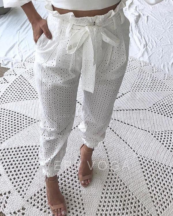 Solid Long Casual Long Striped Pants