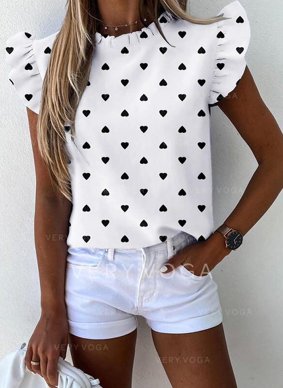 Print Round Neck Cap Sleeve Casual Blouses