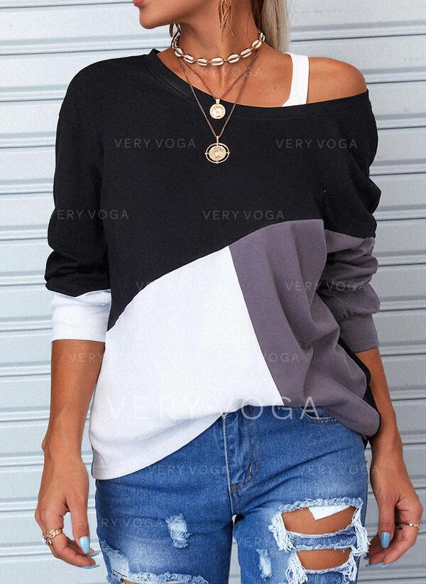 Blok Koloru Na jedno ramię Długie rękawy T-shirty