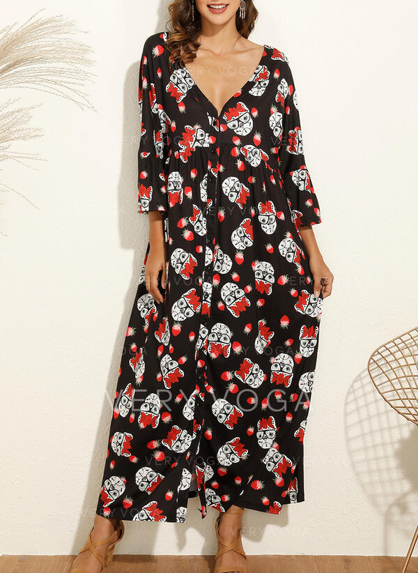 Print/Floral Long Sleeves Shift Casual/Boho/Vacation Maxi Dresses
