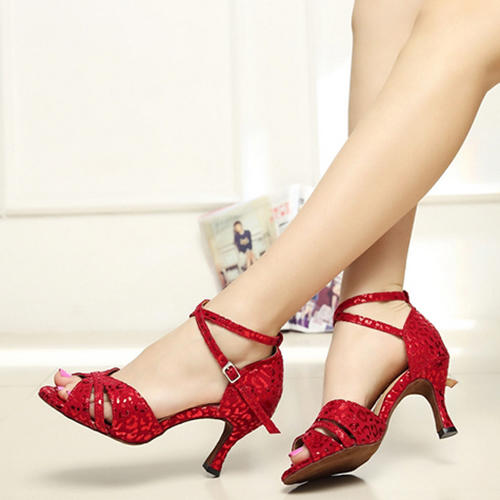 Women's Latin Heels Pumps Suede With Ankle Strap Latin