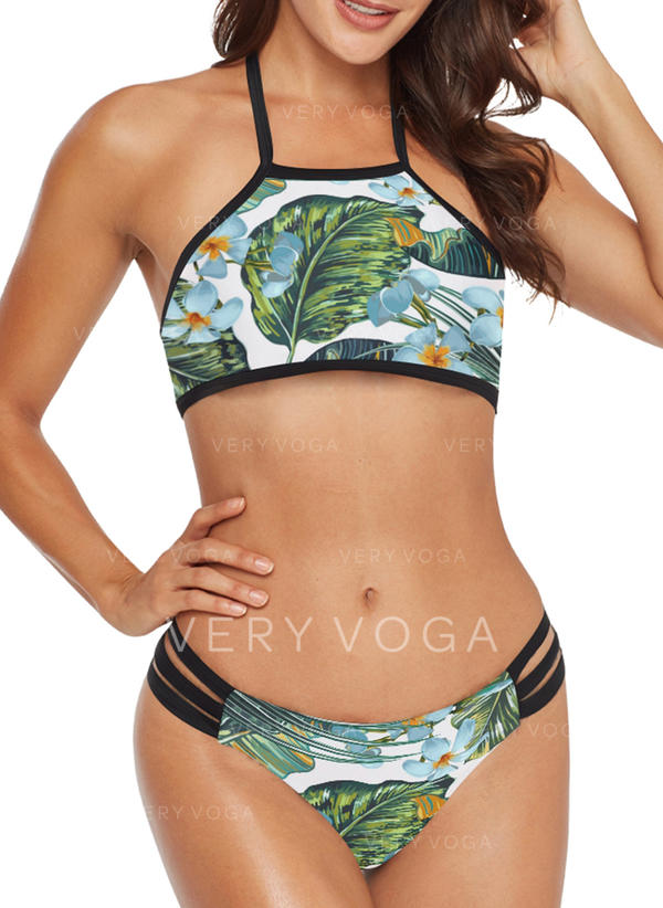 Floral Leaves Halter Beautiful Cute Bikinis Swimsuits