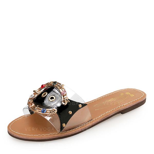 fa7425100 Women s PU Flat Heel Flats Peep Toe Slingbacks Slippers With Rhinestone  Rivet shoes