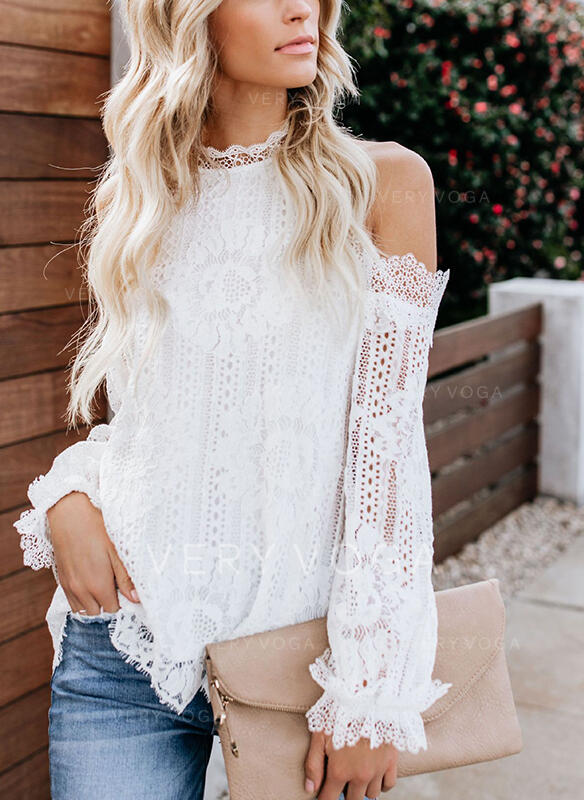 Solid Lace Cold Shoulder Lantern Sleeve Long Sleeves Casual Blouses