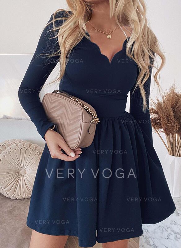 Solid Long Sleeves A-line Above Knee Elegant Skater Dresses