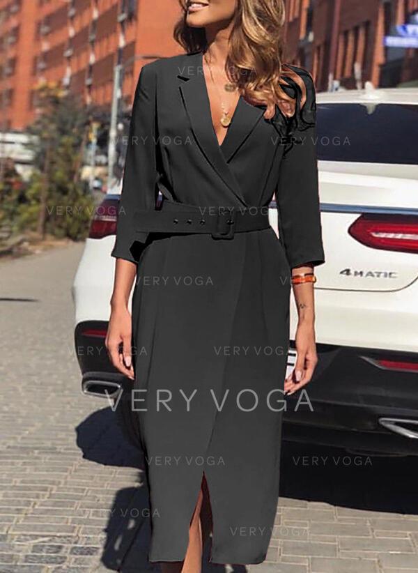 Solide 3/4 Mouwen Koker Zwart jurkje/Elegant Medium Jurken
