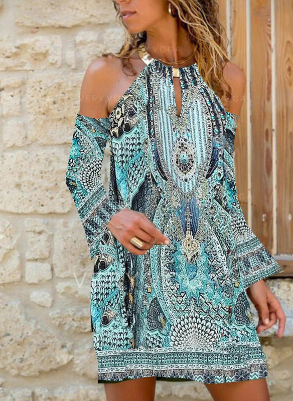 Print Long Sleeves/Cold Shoulder Sleeve Shift Above Knee Casual Tunic Dresses