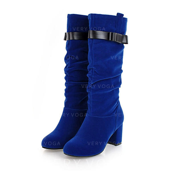 Women's Suede Leatherette Chunky Heel Boots Mid-Calf Boots With Buckle shoes
