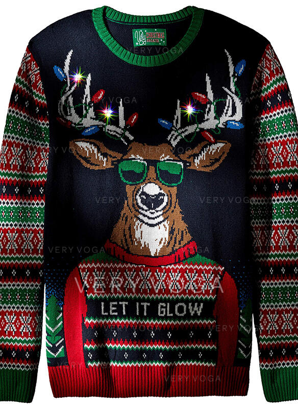 Kønsrelaterede Polyester Print Rensdyr Letter Ugly Christmas Sweater