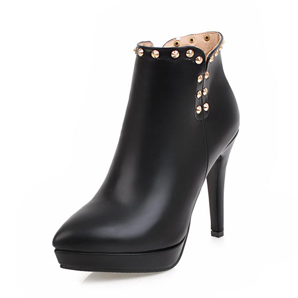 Women's PU Stiletto Heel Pumps Platform Closed Toe Boots Ankle Boots With Rivet Zipper shoes