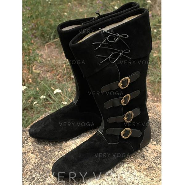 Women's Suede Flat Heel Mid-Calf Boots Snow Boots With Buckle Lace-up shoes