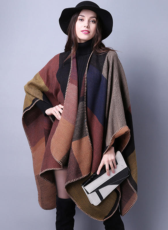 Woolen Long Sleeves Color Block Capes