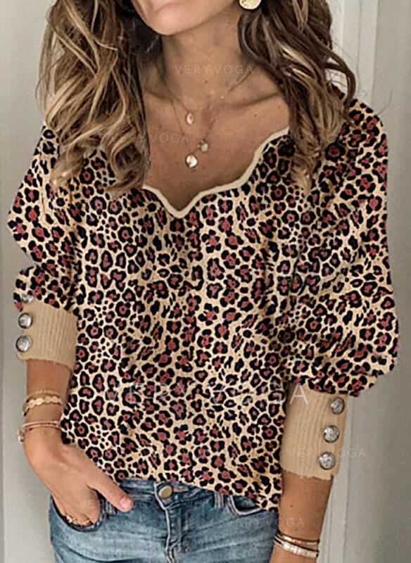 Leopard V-hals Casual Trøjer