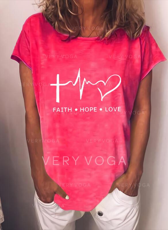 Serce Nadruk Wytłaczany Okrągły dekolt Krótkie rękawy T-shirty