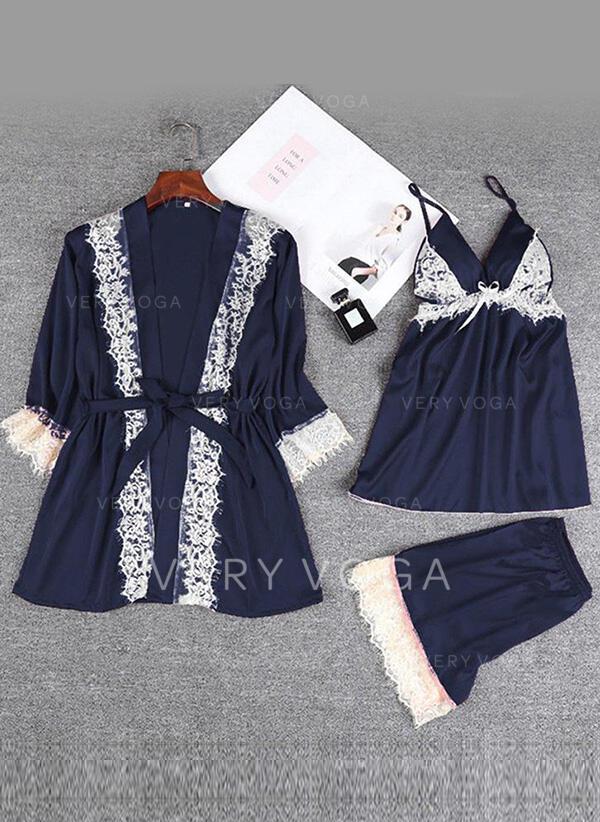 Polyester Spandex Lace Plain Halter Sexy 3pcs Cami Set Robe