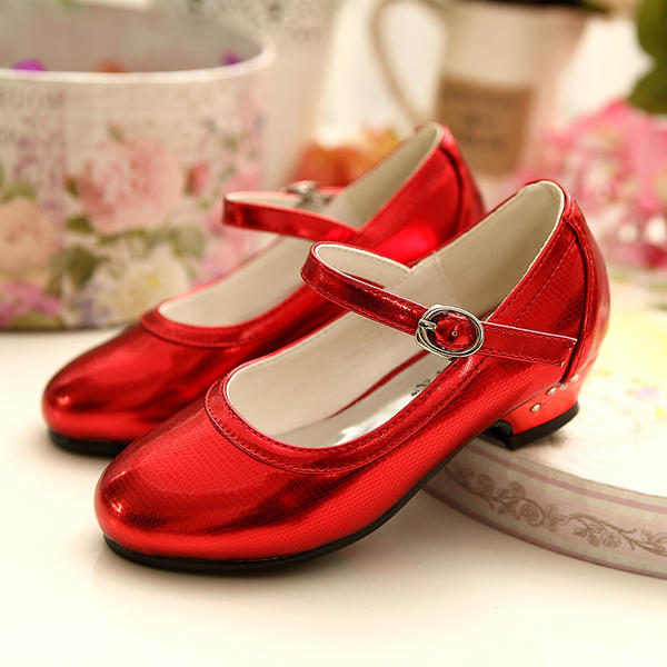 Girl's Closed Toe Leatherette Low Heel