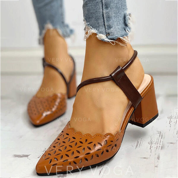 Women's PU Chunky Heel Pumps With Hollow-out shoes