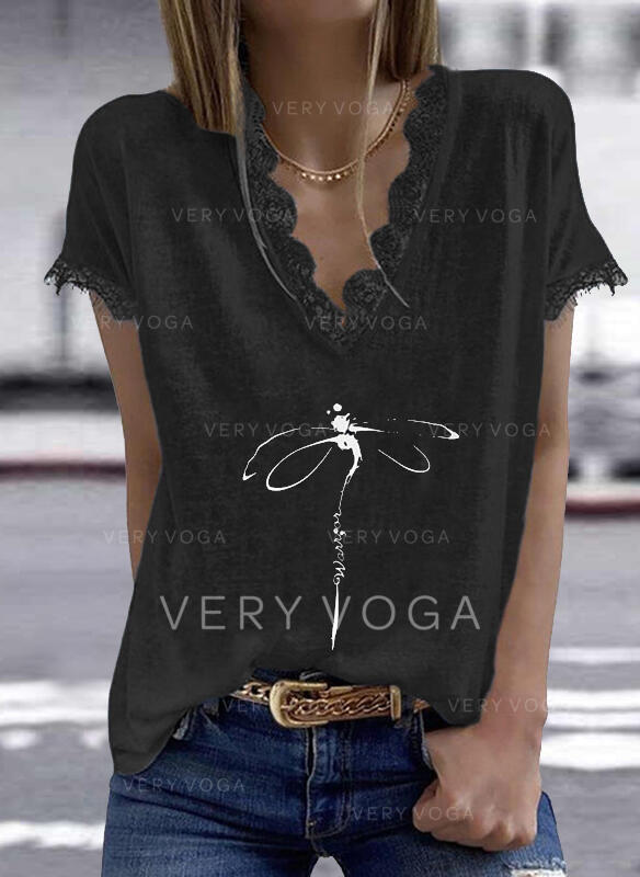 Animal Print Lace Letter V-Neck Short Sleeves Casual Blouses