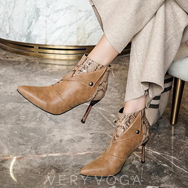 Kvinner PU Stiletto Hæl Pumps Støvler med Glidelås sko