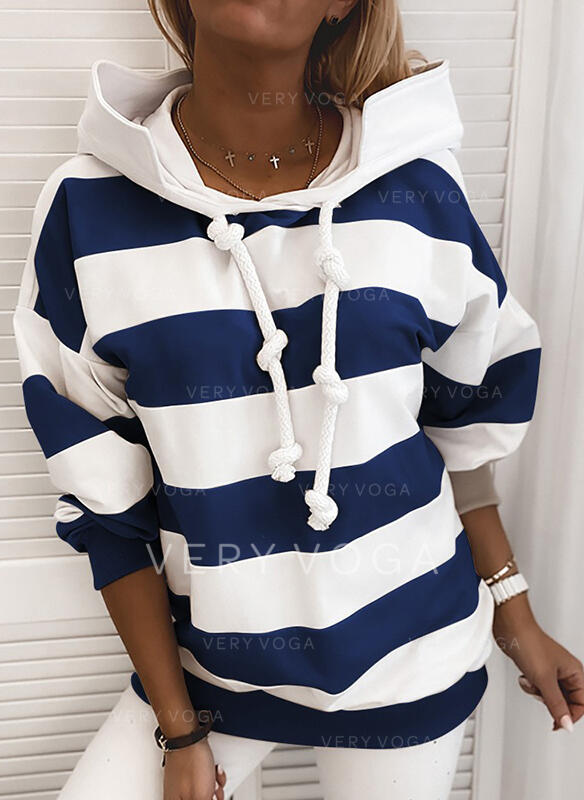 Color Block Striped Hoodie Long Sleeves Casual T-shirts