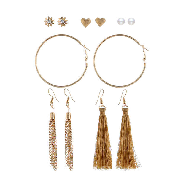 Stylish Simple Alloy Women's Earrings (Set of 6 pairs)