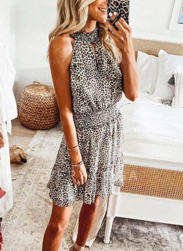 Print/Leopard Sleeveless Sheath Above Knee Casual Dresses