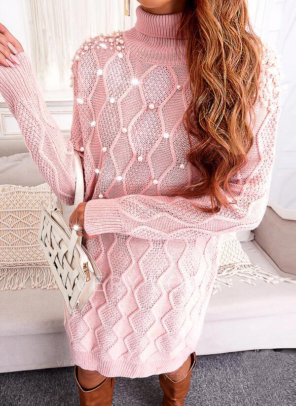 Sólido Cuello Alto Casual Vestido de Suéter