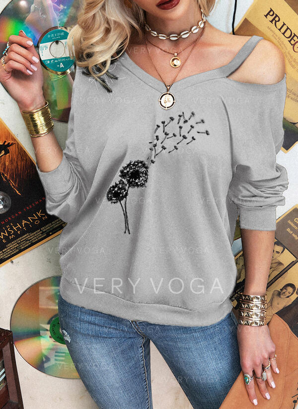 Print Dandelion Cold Shoulder Long Sleeves Casual Blouses