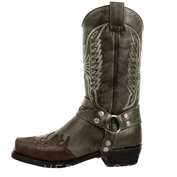 Naisten Keinonahasta Chunky heel Mid-calf saappaat Neliön varvas jossa Kirjailtu kengät