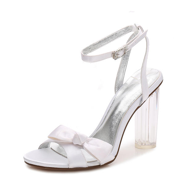 9331b8c37ad Women s Silk Like Satin Chunky Heel Peep Toe Pumps Sandals Slingbacks  MaryJane With Bowknot Buckle