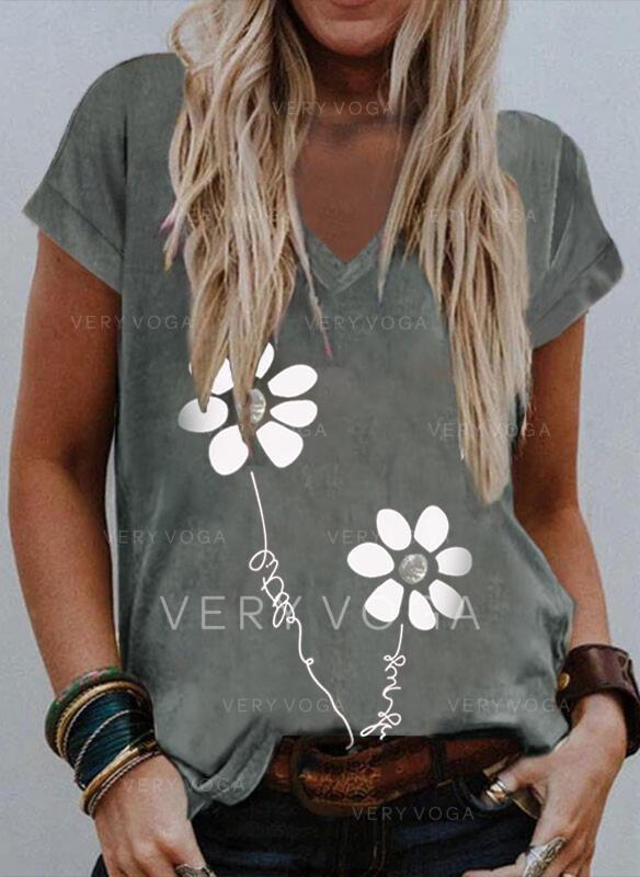 Kwiatowy Nadruk Wytłaczany Dekolt w kształcie litery V Krótkie rękawy T-shirty