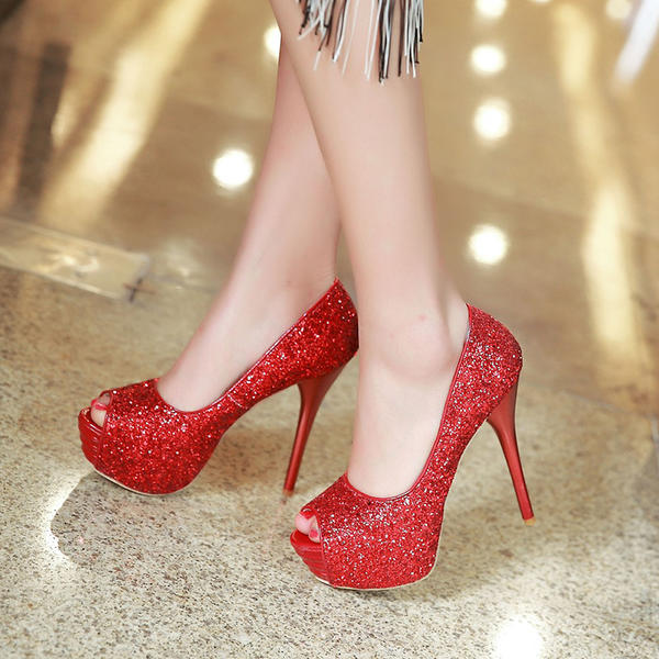 Women's Sparkling Glitter Stiletto Heel Pumps Platform Peep Toe With Sparkling Glitter shoes