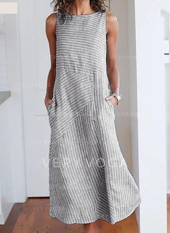 Striped Sleeveless Shift Casual Midi Dresses
