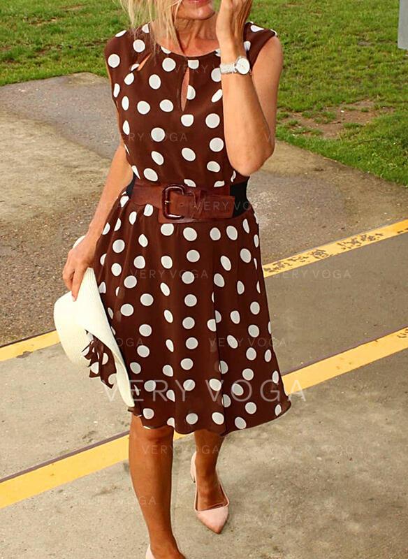 PolkaDot Sleeveless A-line Knee Length Casual Skater Dresses