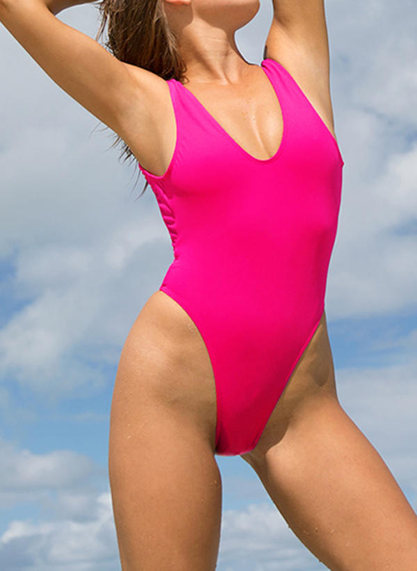 Solid Color Neon U Neck Sexy One-piece Swimsuits