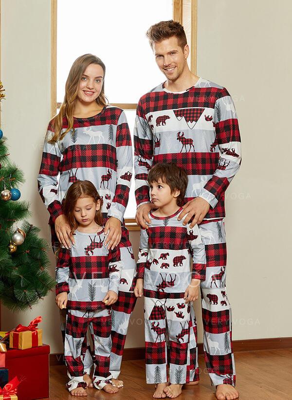 トナカイ チェック 印刷 マッチングファミリー クリスマスパジャマ