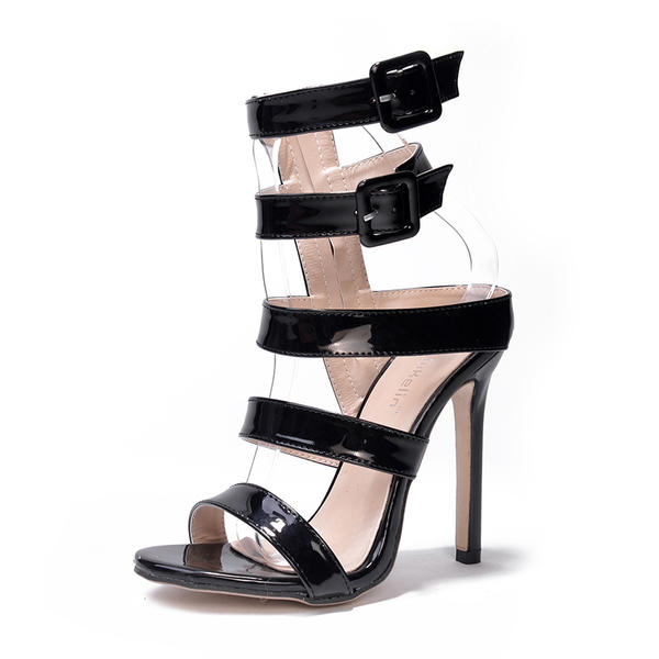 Жіночі Лакована шкіра Шпилька Сандалі Насоси взуття на короткій шпильці  Босоніжки Пряжка af05f03e32ea5