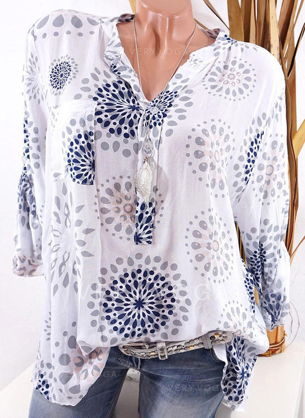 Print V Neck Long Sleeves Button Up Casual Shirt Blouses