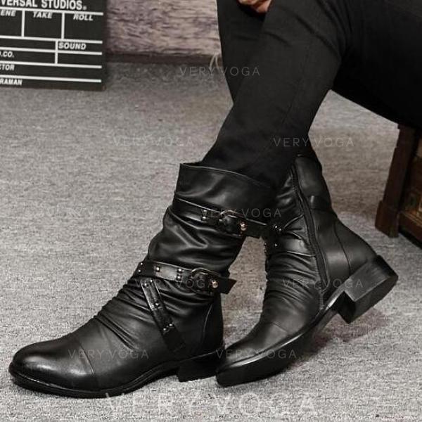 Mulheres Couro Salto baixo Botas com Rivet Fivela Pregueado sapatos