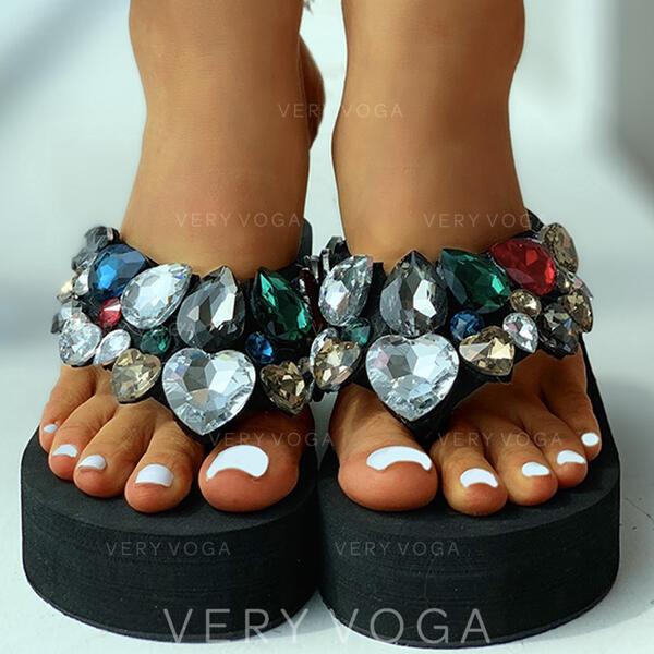Femmes Tissu Talon plat Sandales À bout ouvert Chaussons avec Strass chaussures