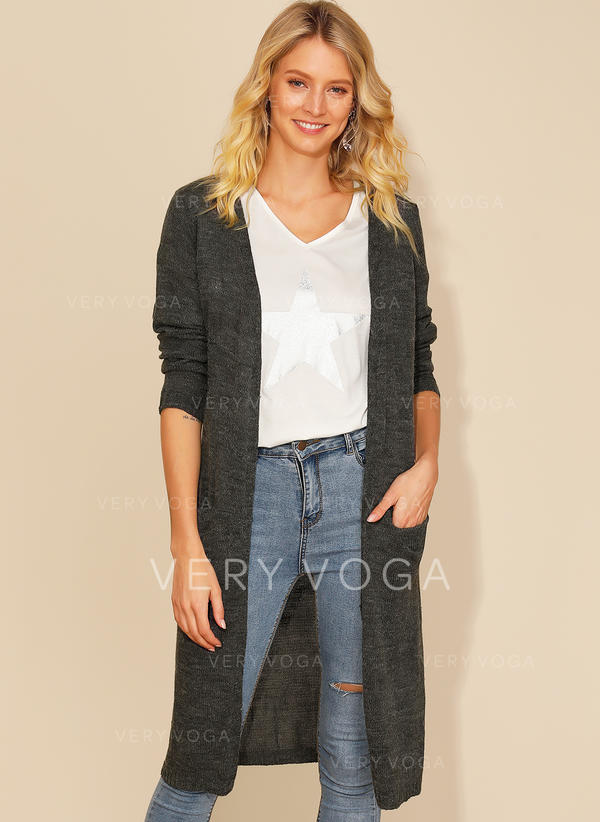 Acrylic Long Sleeves Plain Cardigans